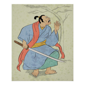 Samurai warrior with sword wood block print