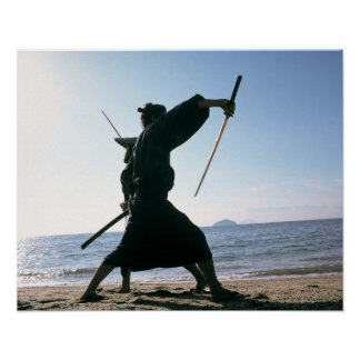 Samurai warriors attacking each other 8 poster