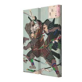 Samurai Warriors Fighting Amidst Fallen Weapons Canvas Print