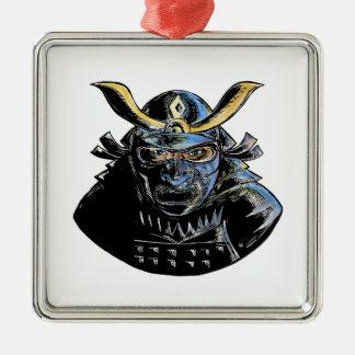 Samurai Wearing Armor Mask Mempo Woodcut Metal Ornament