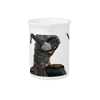 samurai with 2 swords in a squat form drink pitcher