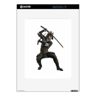samurai with 2 swords in a squat form skins for the iPad