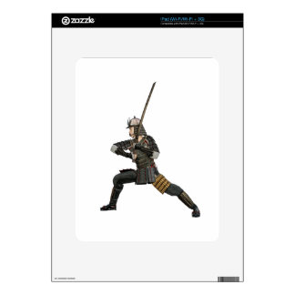 samurai with a sword in a defensive form decal for the iPad