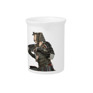 samurai with a sword in a defensive form drink pitcher