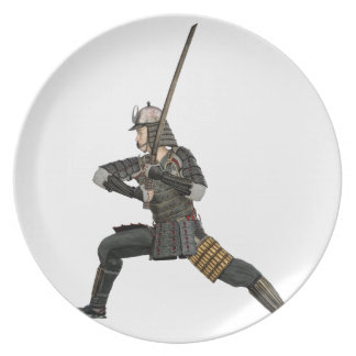 samurai with a sword in a defensive form plate