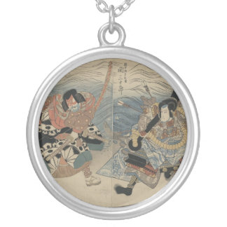 Samurai with Large Sword and Anchor c. 1815 Round Pendant Necklace