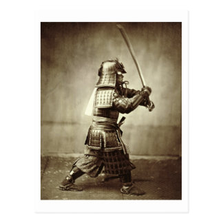 Samurai with raised sword, c.1860 (albumen print) postcard