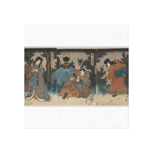 Samurai with Sword Drawn circa 1847 Japan Canvas Print