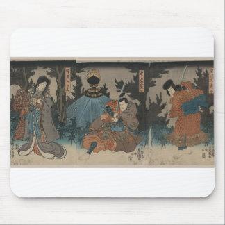 Samurai with Sword Drawn circa 1847 Japan Mousepads