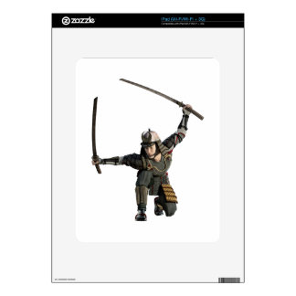 samurai with two swords in a full squat decal for the iPad