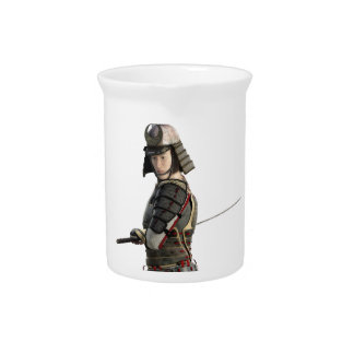 samurai with two swords looking to the front beverage pitcher