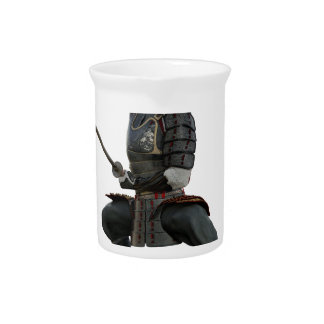samurai with two swords ready looking to the front drink pitcher