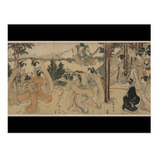 Samurai with Women and Mt. Fuji Background c.1801 Postcard