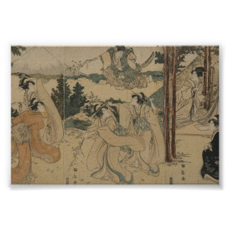 Samurai with Women and Mt. Fuji Background c.1801 Poster