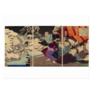 Samurai y cráneos en la nieve, circa 1882 postales