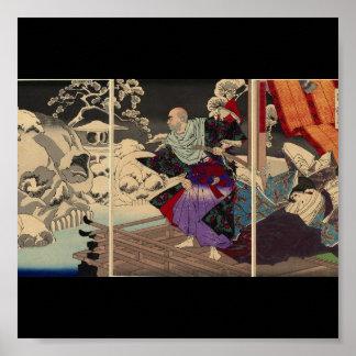 Samurai y cráneos en la nieve, circa 1882 póster