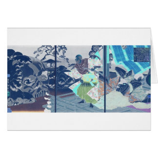 Samurai y cráneos en la nieve, circa 1882 tarjeta de felicitación