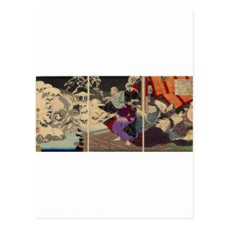 Samurai y cráneos en la nieve, circa 1882 tarjeta postal