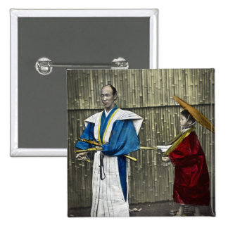 Samurai y criado pin cuadrado