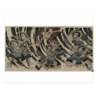 Samurai y demonio circa 1818 postales