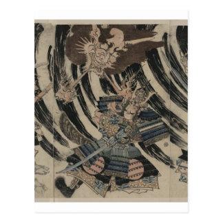 Samurai y demonio circa 1818 tarjetas postales