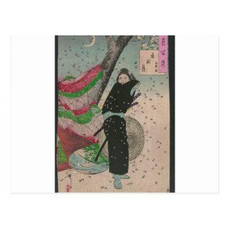 Samurai y flores de cerezo circa 1800s postal