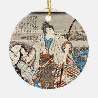 Samurai y señora clásicos Utagawa del ukiyo-e del Ornamento Para Reyes Magos