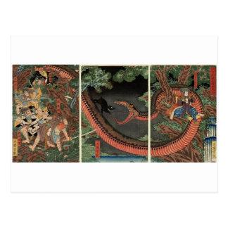 Samurai y serpiente gigante circa 1861 postal