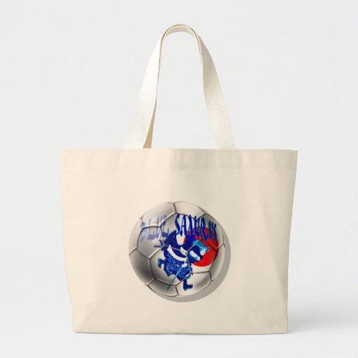 Samurais azules - regalos azules del fútbol de Jap Bolsa Tela Grande