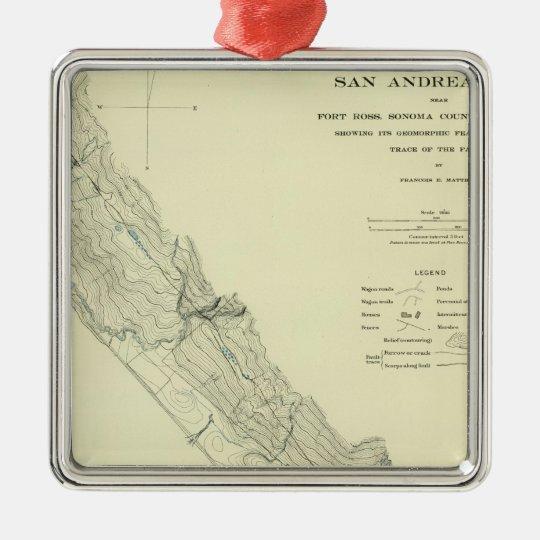 San Andreas Rift near Fort Ross Metal Ornament