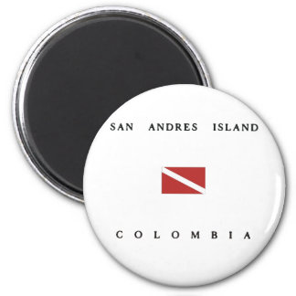 San Andres Island Colombia Scuba Dive Flag 2 Inch Round Magnet