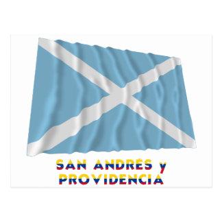 San Andrés y Providencia Waving Flag with Name Postcard