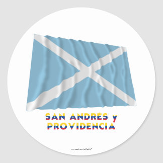 San Andrés y Providencia Waving Flag with Name Sticker