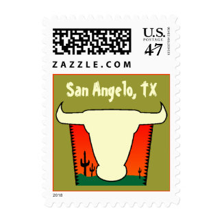 San Angelo Texas TX West Cattle Country Cactus Postage