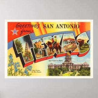 San Antonio #2 Texas TX Vintage Travel Souvenir Poster