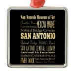 San Antonio City of Texas State Typography Art Metal Ornament