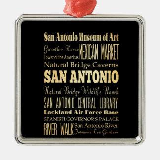 San Antonio City of Texas State Typography Art Square Metal Christmas Ornament