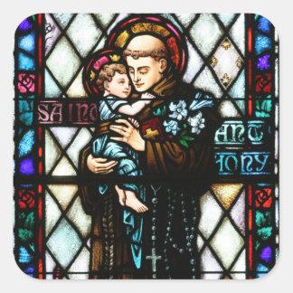 San Antonio de Padua que detiene a un niño Pegatina Cuadrada