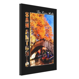 San Antonio River Walk Travel Poster Stretched Canvas Print