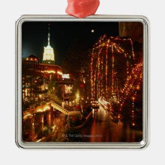 San Antonio Riverwalk at Night Metal Ornament