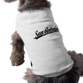 San Antonio script logo in black distressed Pet Clothing