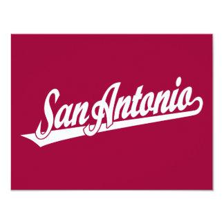 San Antonio script logo in white 4.25x5.5 Paper Invitation Card
