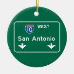 San Antonio, señal de tráfico de TX Adorno Navideño Redondo De Cerámica