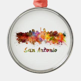 San Antonio skyline in watercolor Metal Ornament
