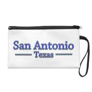San Antonio Tejas en azul y rojo - en blanco