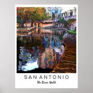 San Antonio, Tejas: Impresión del arte del paseo d Póster