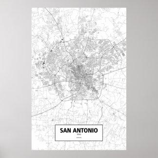 San Antonio, Texas (black on white) Poster
