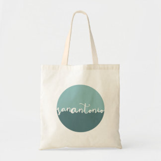 San Antonio, Texas | Blue Calligraphy Ombre Tote Bag