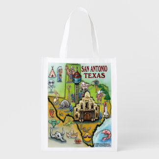 San Antonio Texas Cartoon Map Grocery Bag