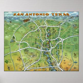 San Antonio Texas Cartoon Map Poster